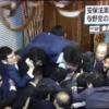 民主党 小西ひろゆきが鴻池委員長めがけてダイブ(証拠の動画有り)